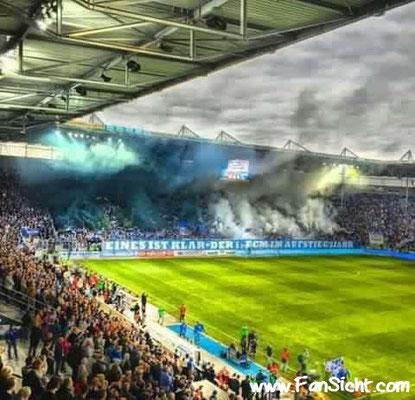 Choreo der Fans des 1. FC Magdeburg. Foto: Peter Müller (via Facebook).