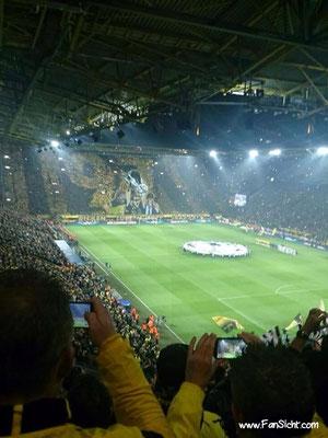 Choreographie der Fans von Borussia Dortmund. Foto von Gudrun da Silva.