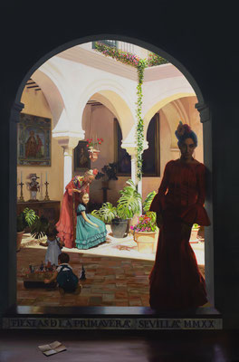 Cartel Fiestas de la Primavera de Sevilla 2020. Óleo sobre lienzo. 147 x 97 cm