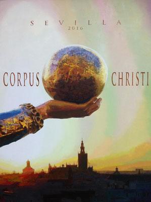 Cartel Oficial Corpus Christi Sevilla 2016. Óleo sobre lienzo. Oil in Canvas. 65 x 92 cm