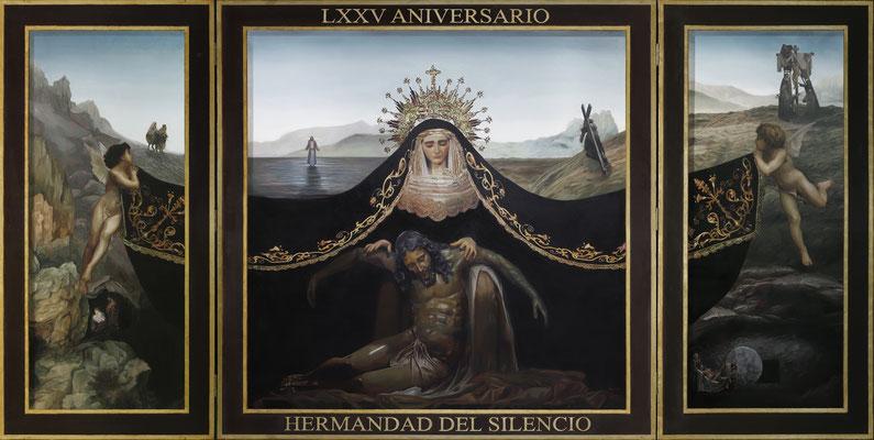 Cartel 75 aniversario de la Hermandad del Silencio de Almería. 240 x 120 cm. Óleo sobre tabla (tríptico) 2021