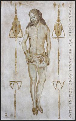 Cartel Semana Santa Dos Hermanas 2020. Óleo sobre tela. 195 x 127 cm