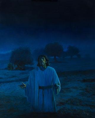 La Oración azul. Óleo sobre lienzo. 65 x 81 cm. 2019
