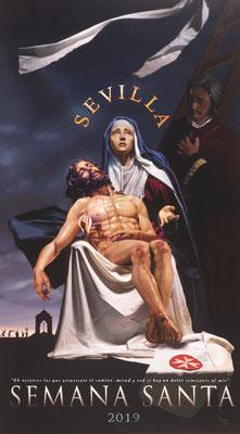 Cartel Semana Santa de Sevilla 2019. Óleo sobre lienzo. 147 x 82 cm