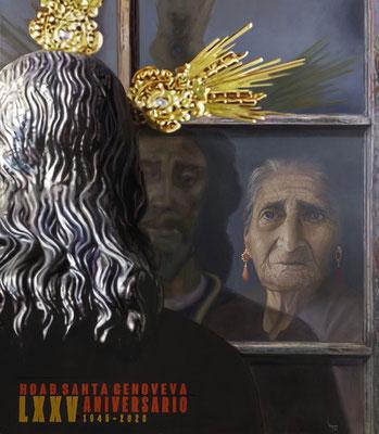 Cartel del 75 Aniversario de la Hermandad de Santa Genoveva de Sevilla. Óleo sobre lienzo. 114 x 100 cm . 2020