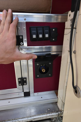 Wassersteckdose und Lichtschalter