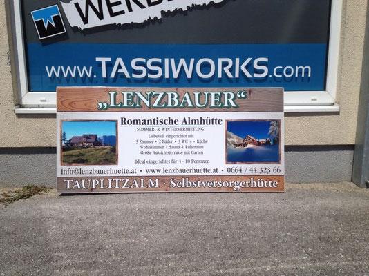 Lenzbauer hütte, Tauplitzalm: Firmenschild für Vermietung