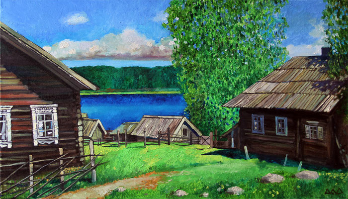 """Северная деревня"" х,м 40х70см 2012г. частная коллекция"