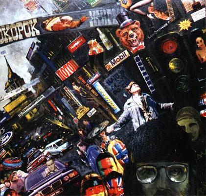 """""""Атопортрет. Невский проспект 1996 год."""" масло, металлический планшет, смешанная техника. 60х60см 1996г."""