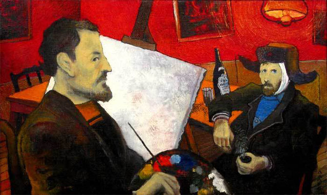 """""""Поль Гоген после примирения пишет портрет Ван Гога в ночном кафе города Арль"""" 50х90 1997г. Частная коллекция"""