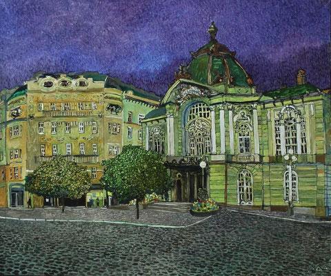 """Будапешт. Театр комедии"" х,м 50х60см 2015г."