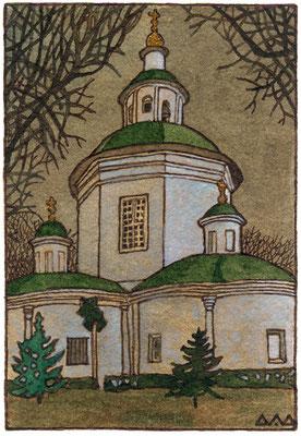 Церковь в Петрово-Дальнем. Проект открытки. бумага, акварель, коричневая тушь 2000г.