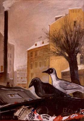 """""""Ворона и чайка"""" 70х50 х,м, смкшанная техника 1996г. Частная коллекция"""
