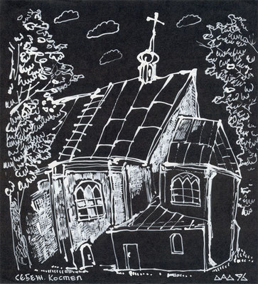 """""""Себеж. Костёл"""" 1996 г белый карандаш, чёрная бумага"""