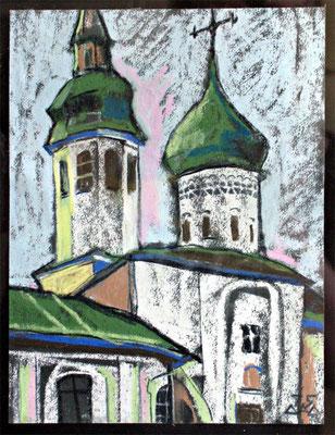 """""""Собор Снетогорского монастыря"""" пастель 1996г."""