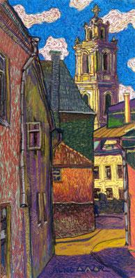 """""""Старый Вильнюс"""" 60х20см, бумага, масляная пастель 2002г."""
