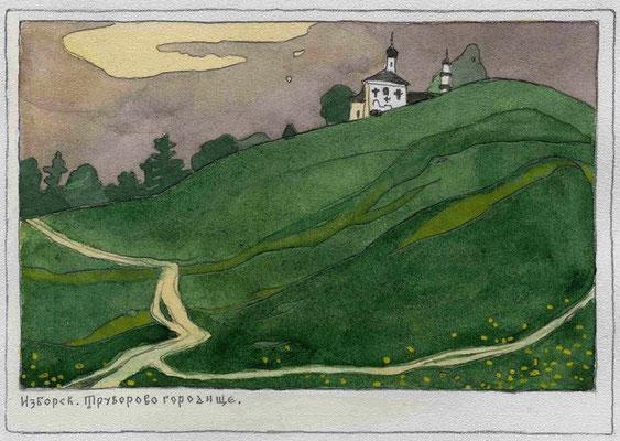 неосуществлённый проект открыток посвящённых городу Пскову. бумага, акварель, тушь 2001г.