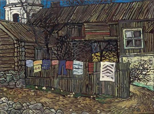"""""""Cебежский дворик"""" х,м 30х40см 2006г. частная коллекция"""