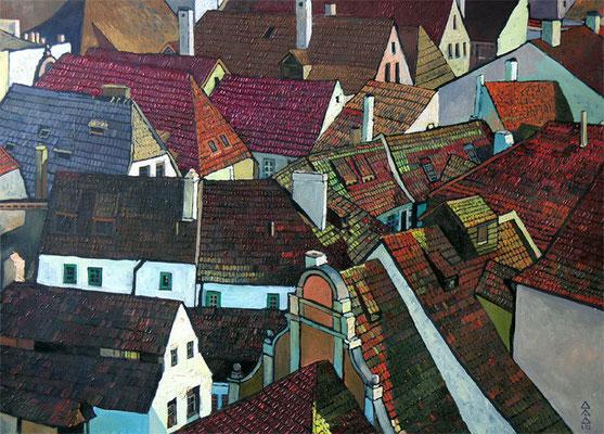 """Вид на крыши Крумау"" 50х70см х,м 2010 Частное собрание."