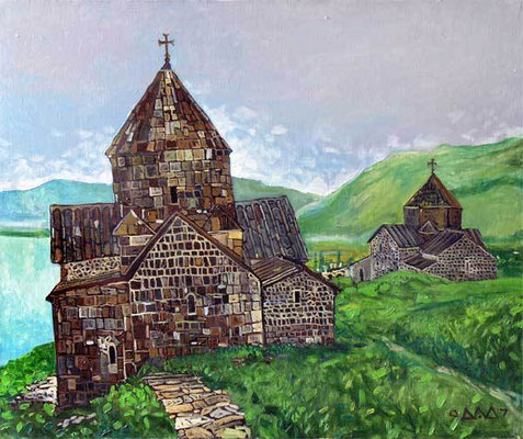 """Две церкви на Берегу Севана"" 50х60 х,м 2008г. Частная коллекция"