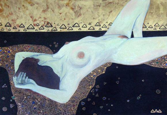 """""""Nude"""" х,м, золотая краска 50х70см 2010г."""
