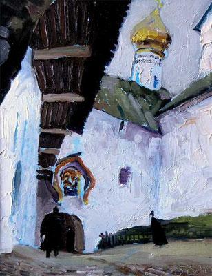 """""""В Печерском монастыре"""" (этюд) 35х25 к,м 1997г."""