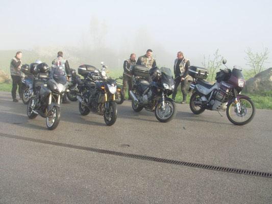 Start mit Nebel