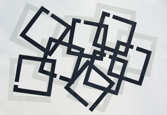 Jürgen Forster: Acht Quadrate. 2-farbiger Druck auf Bütten, 48 x 65 cm, 2017