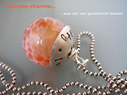 Edelstein-Charm mit beschriftbarer Silberkappe (Feuerachat Gr. L)