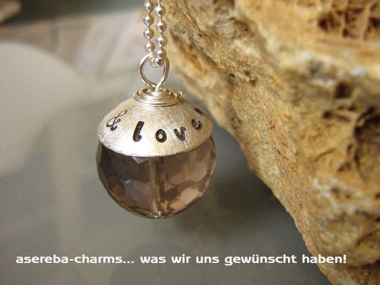 Edelstein-Charm mit beschriftbarer Silberkappe (Rauchquarz Gr. L)