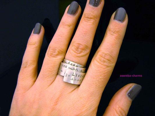 Poetry-Ring mit Ihrem Wunsch-Zitat / Gedicht