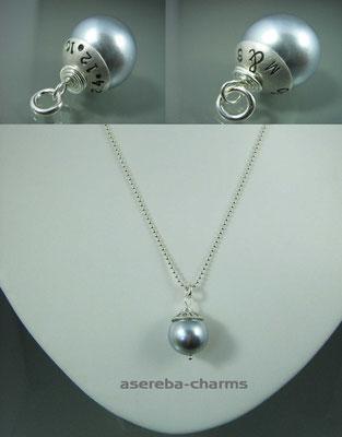 Hochzeits-Set Edelstein-Charms mit beschriftbarer Silberkappe (Kette und Ohrringe)