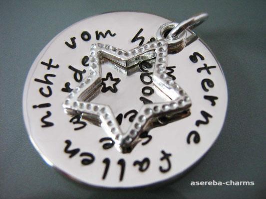 """""""Sterne fallen nicht..."""" Geschenk zur Geburt (auf Rückseite: Name, Geburtsdatum, Uhrzeit, Gewicht und Größe)"""