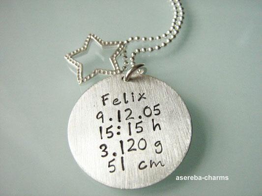 """Das personalisierte Geschenk für die Mami zur Geburt: """"Sterne fallen nicht..."""" + Rückseite mit Namen, Geburtsdatum, Uhrzeit, Gewicht und Größe"""