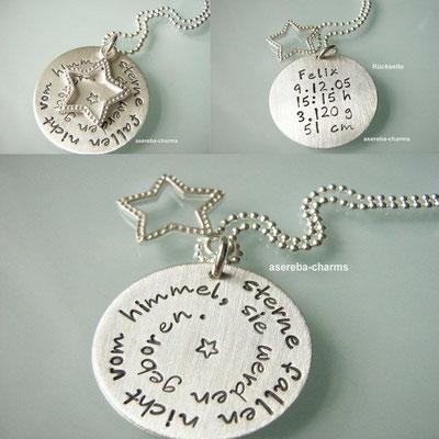 Geschenk zur Geburt (Anhänger mit Name, Geburtsdatum, Gewicht, Größe, Uhrzeit)