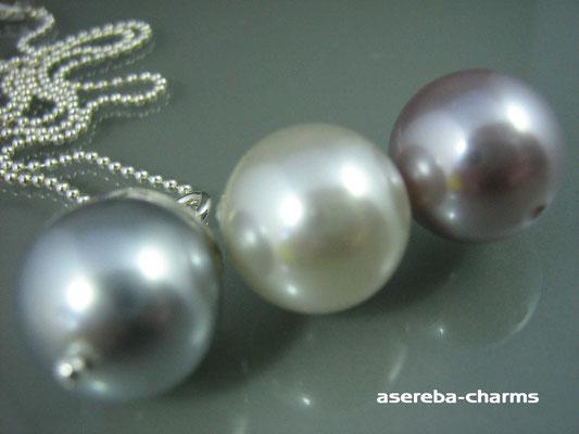 Edelstein-Charm mit beschriftbarer Silberkappe (Farben v.l.n.r.: silber, creme, rose)
