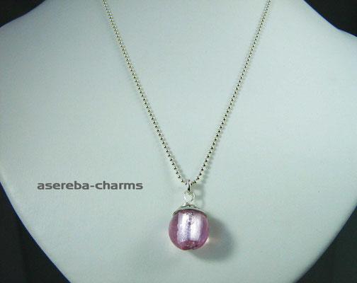 Edelstein-Charm mit beschriftbarer Silberkappe (Glass-Bead rosa, Gr. M)