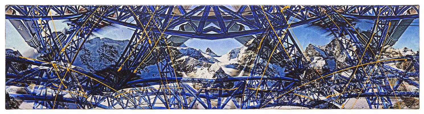 STEEL BLUE SKY (2015, 1/8, 140x35cm, MP0152, Photographien, Inkjet-Pigmentdruck auf Leinwand, Acryl) © Michael Pfenning. Verkauft/Sold