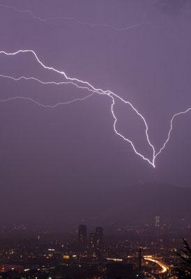 Gewitter/Blitzeinschlag in Uetlibergturm, Zürich, Schweiz, 2008 06 11  (MP0379) © Michael Pfenning