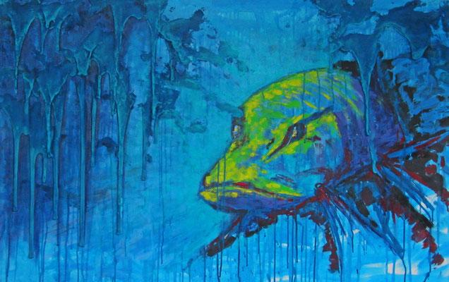 """Künstler: Trentini """"Blauer Hecht"""" 80*120cm, Sand, Acryl auf Leinwand, Zell am See  2016"""
