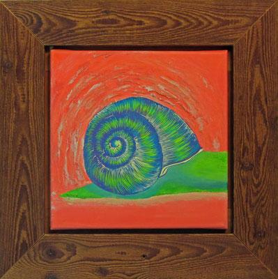 """Künstler: Trentini """"Schnecke in Grün"""" 30*30cm, Acryl auf Leinwand, Zell am See 2015"""
