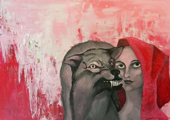 "Künstler:  Claudia Trentini ""Medienmärchen"",2009,  Acryl auf Leinwand, 70*100cm, Zell am See 2009"
