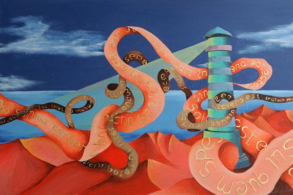 "Künstler: Mag.art Claudia Trentini ""Leuchturm"" 2014, Acryl auf Leinwand, 120*100cm, Zell am See 2016"