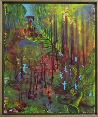 """Künstler: Trentini """"Wasserwelten"""" 2015, Tusche; Acryl auf Leinwand, Zell am See 50*60cm"""