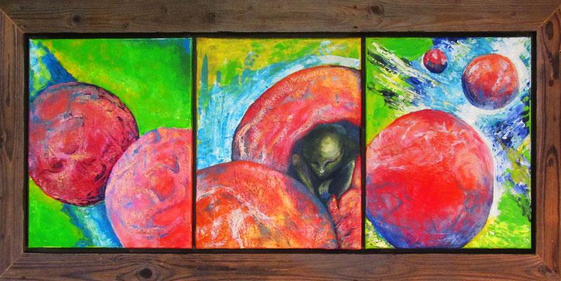 "Künstler: Trentini ""Planet 3"" 2010, Collage, Acryl auf Leinwand, 120*50cm, Zell am See 2010"