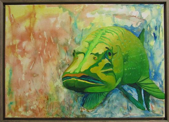 """Künstler:  Claudia Trentini """"Hecht 1"""",, Tusche, Acryl auf Leinen, 50*70 cm, Zell am See 2015"""