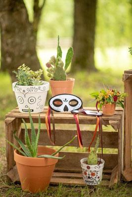 Décoration cactus et masques, organisation et décoration de mariage mexicain par Daydream Events, mariage gay, mariage lesbien, thème Dia de los Muertos