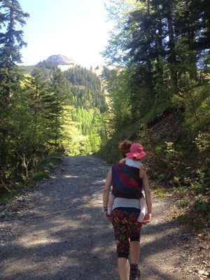 Auf dem Weg zur Binsalm, Tragetuch: Oscha Braid Norse