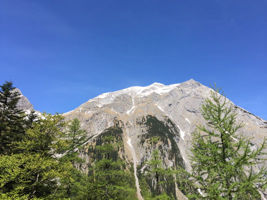 Ausblick auf die Berge gegenüber der Binsalm.