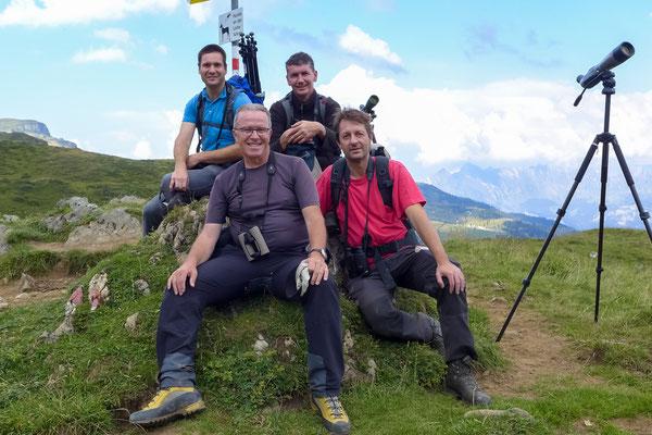 Matts Amsler, Stephan Trösch, Martin Roost und Andreas Reich, Bird Race Schweiz 2013 | Flumser Berge (Foto: Stephan Trösch)